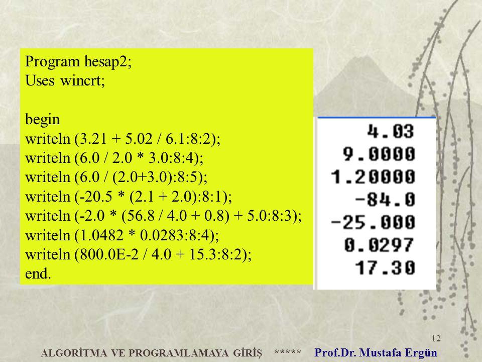 12 ALGORİTMA VE PROGRAMLAMAYA GİRİŞ ***** Prof.Dr. Mustafa Ergün Program hesap2; Uses wincrt; begin writeln (3.21 + 5.02 / 6.1:8:2); writeln (6.0 / 2.