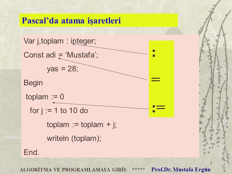 2 Var j,toplam : integer; Const adi = 'Mustafa'; yas = 28; Begin toplam := 0 for j := 1 to 10 do toplam := toplam + j; writeln (toplam); End. ALGORİTM