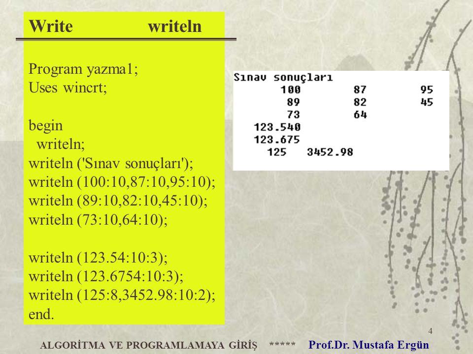 4 Write writeln Program yazma1; Uses wincrt; begin writeln; writeln ('Sınav sonuçları'); writeln (100:10,87:10,95:10); writeln (89:10,82:10,45:10); wr