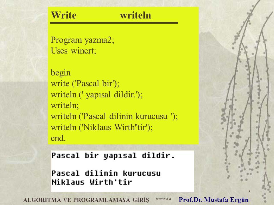 5 Write writeln Program yazma2; Uses wincrt; begin write ('Pascal bir'); writeln (' yapısal dildir.'); writeln; writeln ('Pascal dilinin kurucusu ');