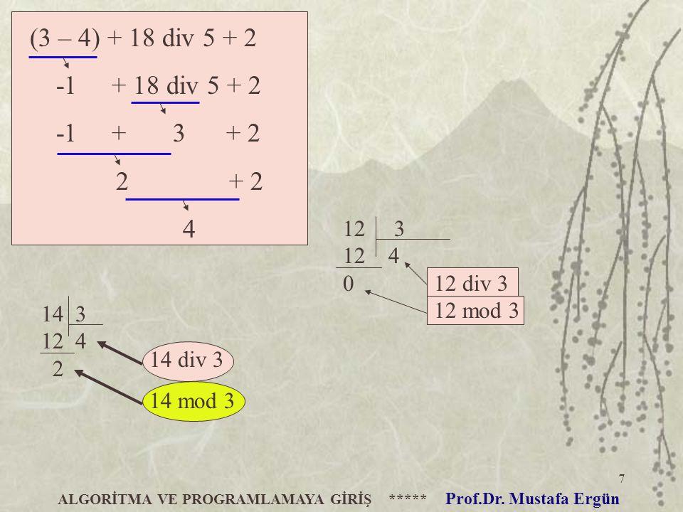 7 (3 – 4) + 18 div 5 + 2 -1 + 18 div 5 + 2 -1 + 3 + 2 2 + 2 4 ALGORİTMA VE PROGRAMLAMAYA GİRİŞ ***** Prof.Dr. Mustafa Ergün 12 3 12 4 0 12 div 3 12 mo