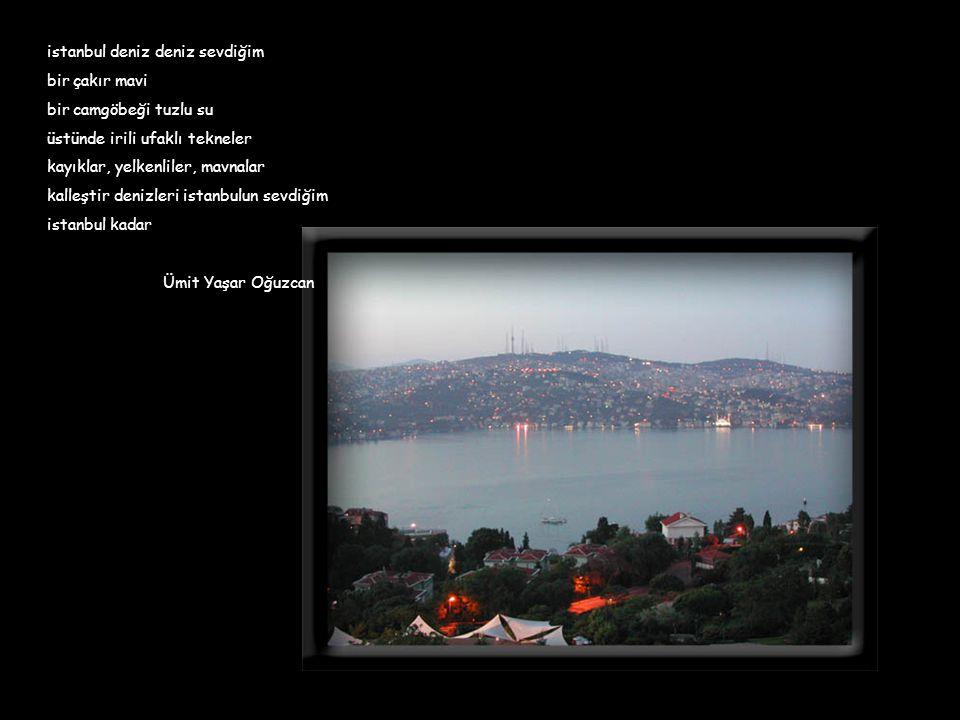 İstanbul deyince aklıma kuleler gelir Ne zaman birinin resmini yapsam öteki kıskanır Ama şu Kızkulesinin aklı olsa Galata kulesine varır Bir sürü çocukları olur Bedri Rahmi EYÜBOĞLU