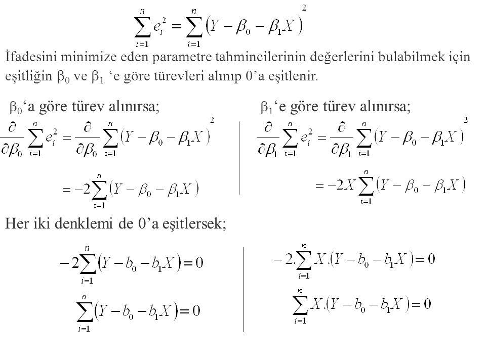 İfadesini minimize eden parametre tahmincilerinin değerlerini bulabilmek için eşitliğin  0 ve  1 'e göre türevleri alınıp 0'a eşitlenir.