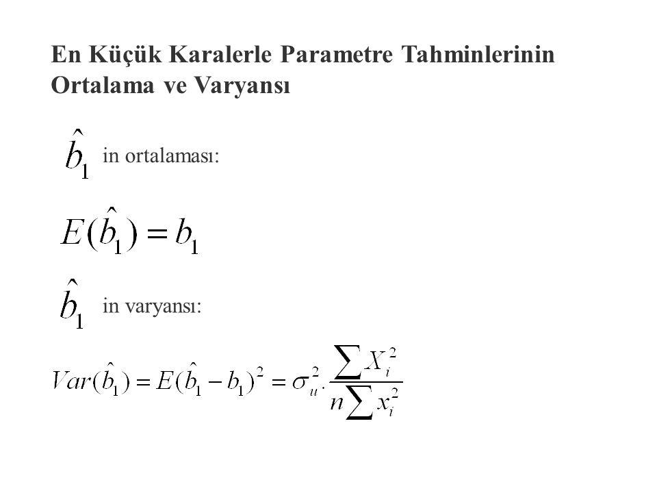 Y i nin varyansı ve eşitliklerini varyans tanımında yerine koyarsak u i lar sabit varyanslıdır. Yani hepsinin varyansı sabit değerlidir. Yani