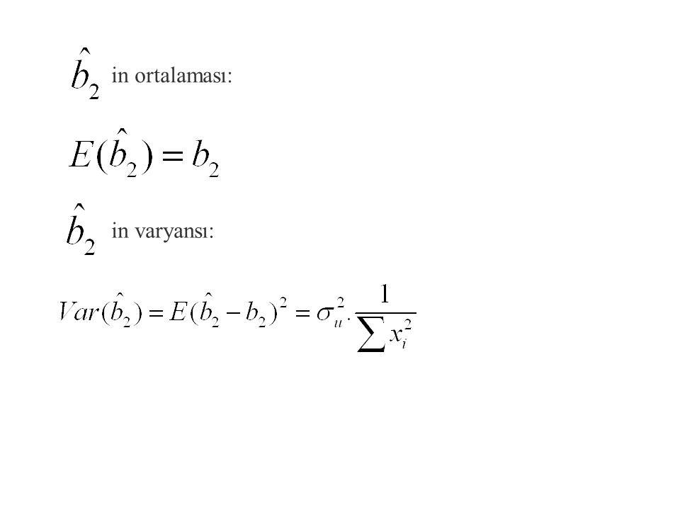 En Küçük Karalerle Parametre Tahminlerinin Ortalama ve Varyansı in ortalaması: in varyansı: