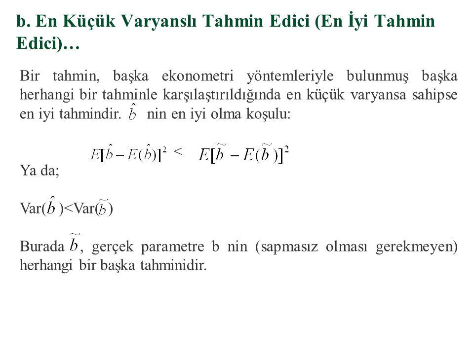 §, b'nin sapmalı tahmin edicisidir §, b'nin sapmasız tahmin edicisidir a. Sapmasız Tahmin Edici