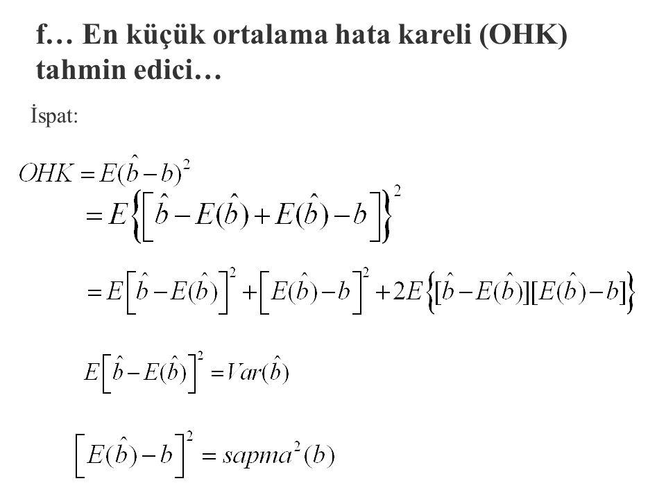 f. En küçük ortalama hata kareli (OHK) tahmin edici §Ortalama hata karesi ölçütü, sapmasızlık ve en küçük varyans özelliklerinin bir bileşimidir. Bura