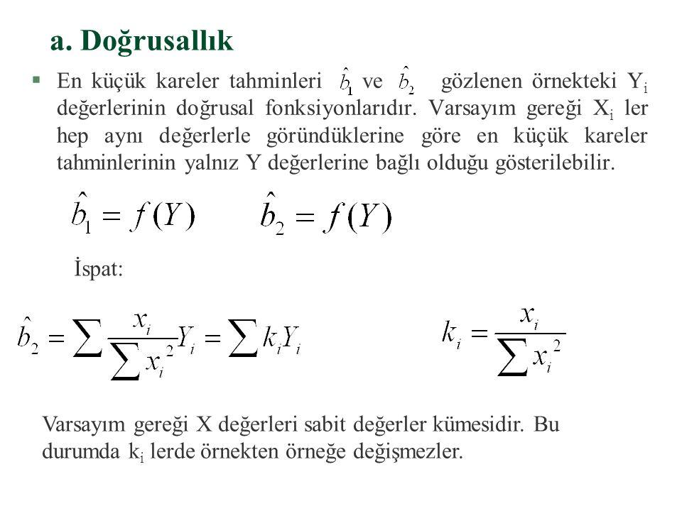 3. En Küçük Kareler Tahmin Edicilerinin Özellikleri §Hata terimi u'nun bazı genel varsayımları yerine getirmesi, yani ortalamasının sıfır ve varyansın