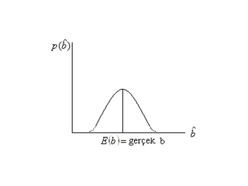 b. Sapmasızlık § ve nin sapmasızlık özelliği ve şeklindedir. Bu özelliğin anlamı, örneklerin sayısı artıkça tahminler de parametrelerin gerçek değerin