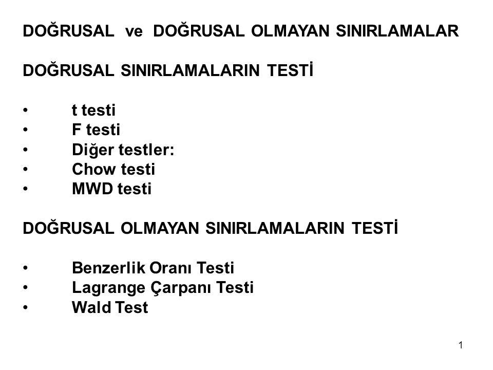DOĞRUSAL ve DOĞRUSAL OLMAYAN SINIRLAMALAR DOĞRUSAL SINIRLAMALARIN TESTİ t testi F testi Diğer testler: Chow testi MWD testi DOĞRUSAL OLMAYAN SINIRLAMA