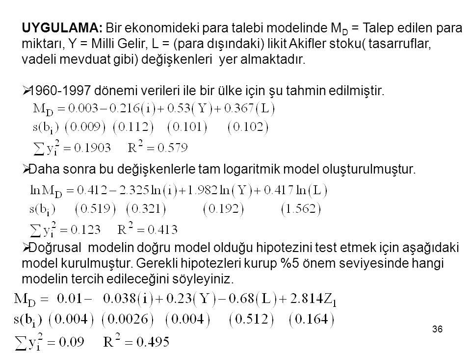 UYGULAMA: Bir ekonomideki para talebi modelinde M D = Talep edilen para miktarı, Y = Milli Gelir, L = (para dışındaki) likit Akifler stoku( tasarrufla