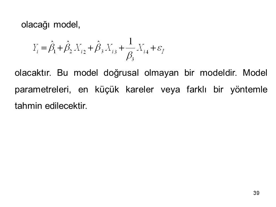 olacaktır. Bu model doğrusal olmayan bir modeldir. Model parametreleri, en küçük kareler veya farklı bir yöntemle tahmin edilecektir. olacağı model, 3
