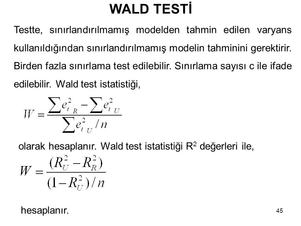 WALD TESTİ Testte, sınırlandırılmamış modelden tahmin edilen varyans kullanıldığından sınırlandırılmamış modelin tahminini gerektirir. Birden fazla sı