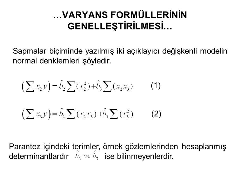 … VARYANS FORMÜLLERİNİN GENELLEŞTİRİLMESİ… 1) Tek açıklayıcı değişkenli model 2) İki açıklayıcı değişkenli model Bu ifadeler determinantla şöyle yazıl