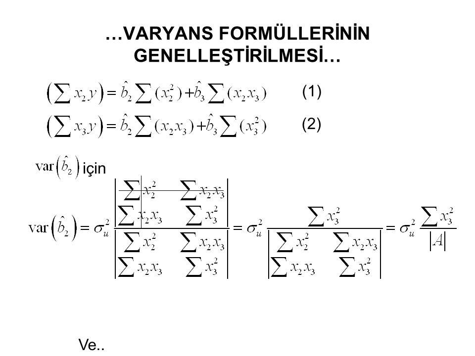 …VARYANS FORMÜLLERİNİN GENELLEŞTİRİLMESİ… (1) ve (2) nolu denklemin sağ tarafında yer alan bilinenler, determinant kalıbında yazılabilir.