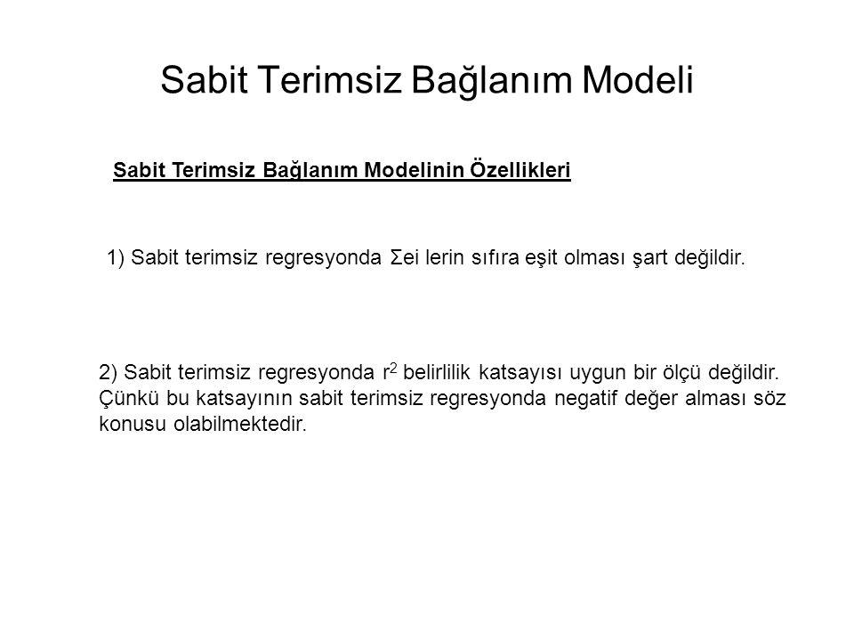 Sabit Terimsiz Bağlanım(Regresyon) Modeli Sabit Terimsiz Bağlanım Modeli 0<  2 <1