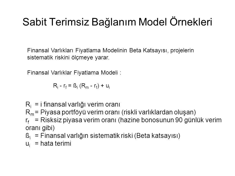 Sabit Terimsiz Bağlanım Model Örnekleri Portföy Teorisi Bir yatırım projesinin toplam riski, iki riskten oluşur: Sistematik risk veya piyasa riski ve
