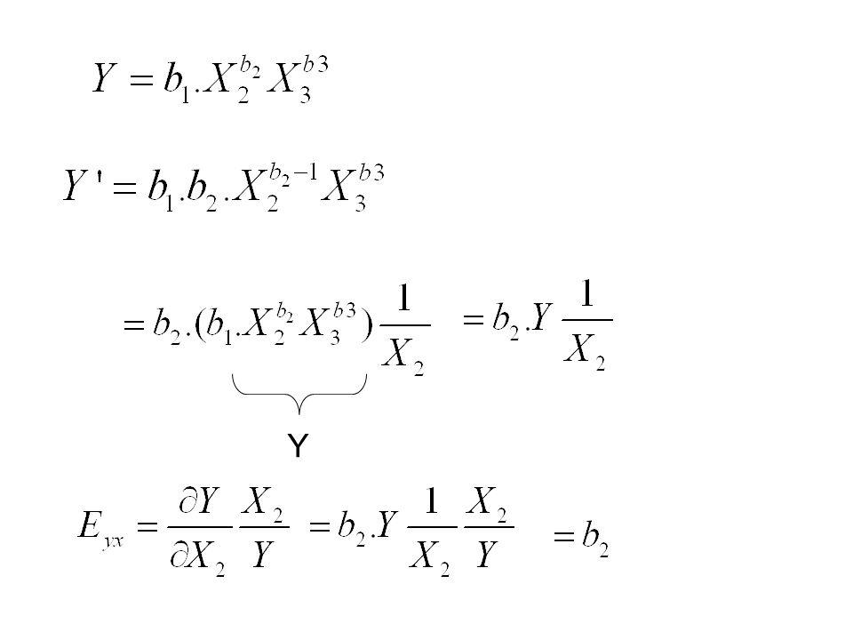 lnY =lnb 1 + b 2 lnX 2 + b 3 lnX 3 +... + b k lnX k + u lne Y * =b 1 * + b 2 X 2 * + b 3 X 3 * +... + b k X k * + u …Tam Logaritmik Model… Birden fazl