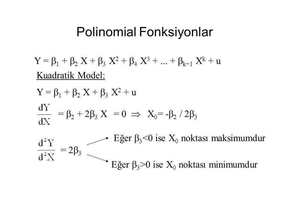 Hedonik Model Doğ - Log Model Y = b 1 +b 2 lnX 2 + b 3 lnX 3 + u Fiyat = -1.749.97 + 299.97 ln(m 2 ) - 145.09 ln(YatakOda) (t)(-6.8)(7.5)(-1.7) Prob.[