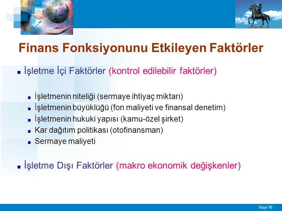 Slayt 18 Finans Fonksiyonunu Etkileyen Faktörler ■ İşletme İçi Faktörler (kontrol edilebilir faktörler) ■ İşletmenin niteliği (sermaye ihtiyaç miktarı