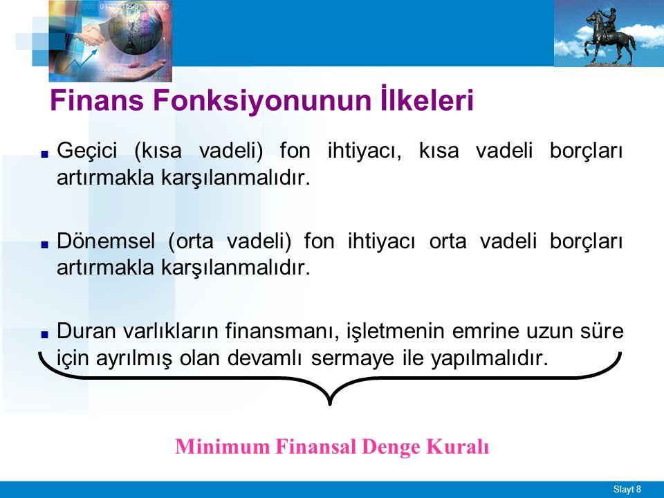 Slayt 8 Finans Fonksiyonunun İlkeleri ■ Geçici (kısa vadeli) fon ihtiyacı, kısa vadeli borçları artırmakla karşılanmalıdır. ■ Dönemsel (orta vadeli) f