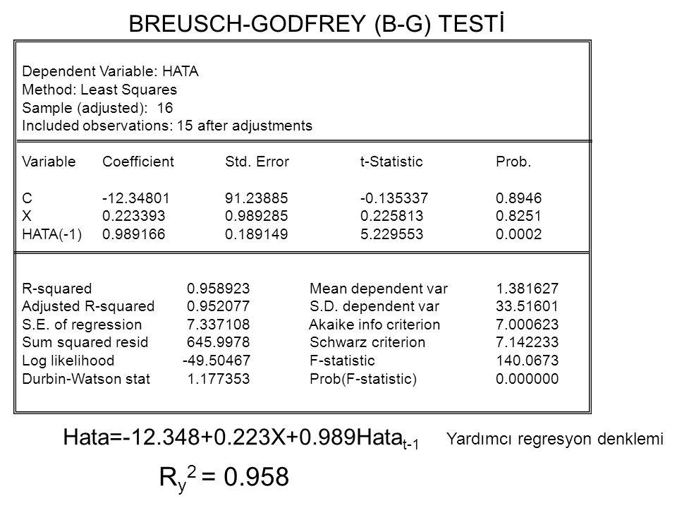 BREUSCH-GODFREY (B-G) TESTİ(LM) Y = b 1 + b 2 X 2 + b 3 X 3 + e LM testi için yardımcı regresyon: R y 2 = ? B-G Testi Aşamaları: 1.Aşama 2.Aşama  = ?
