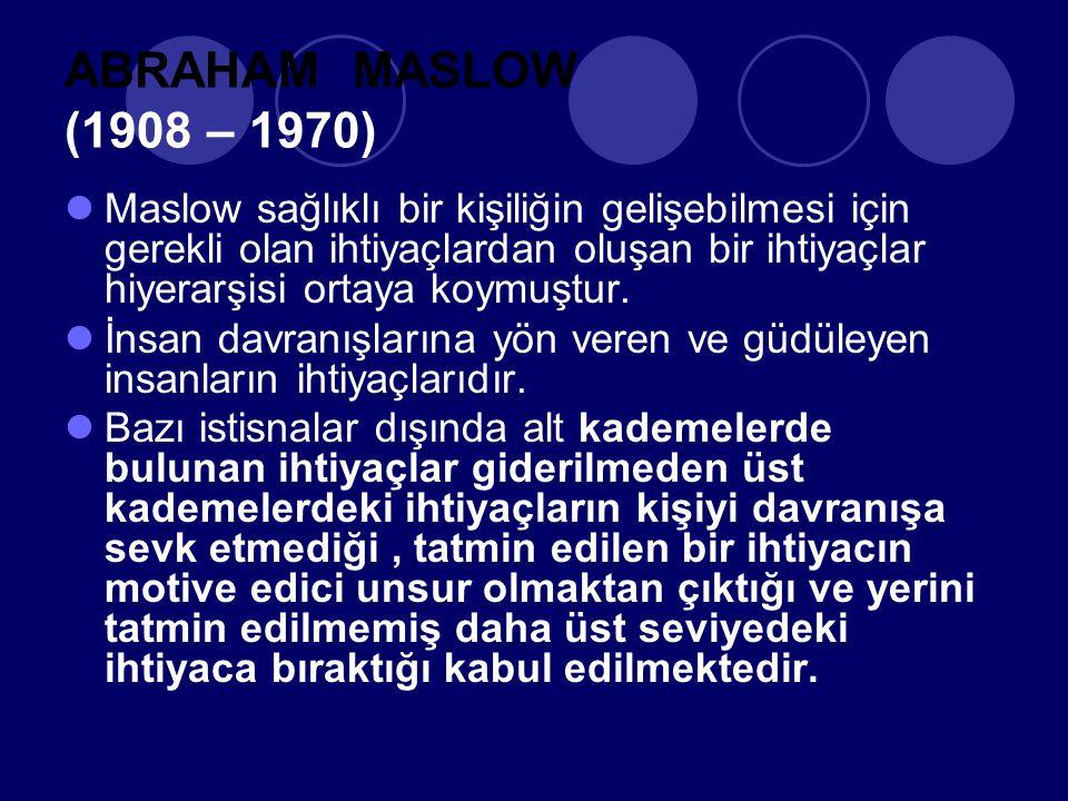 ABRAHAM MASLOW (1908 – 1970) Maslow sağlıklı bir kişiliğin gelişebilmesi için gerekli olan ihtiyaçlardan oluşan bir ihtiyaçlar hiyerarşisi ortaya koymuştur.