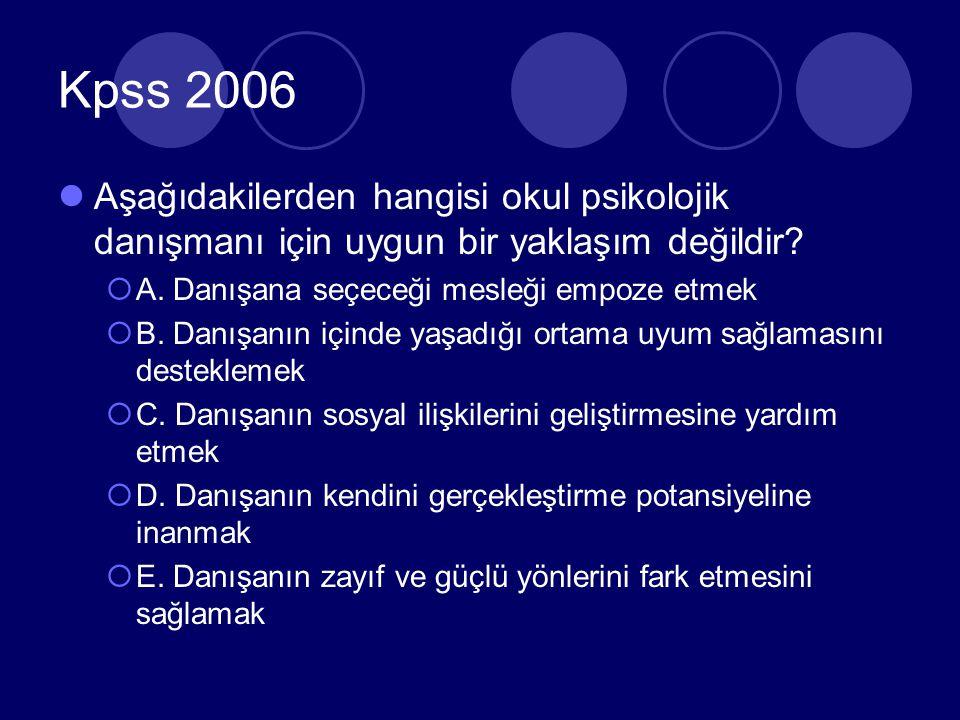 KPSS 2006 Aşağıdakilerden hangisi rehberlik anlayışının temelini oluşturan ilkelerden bir değildir.