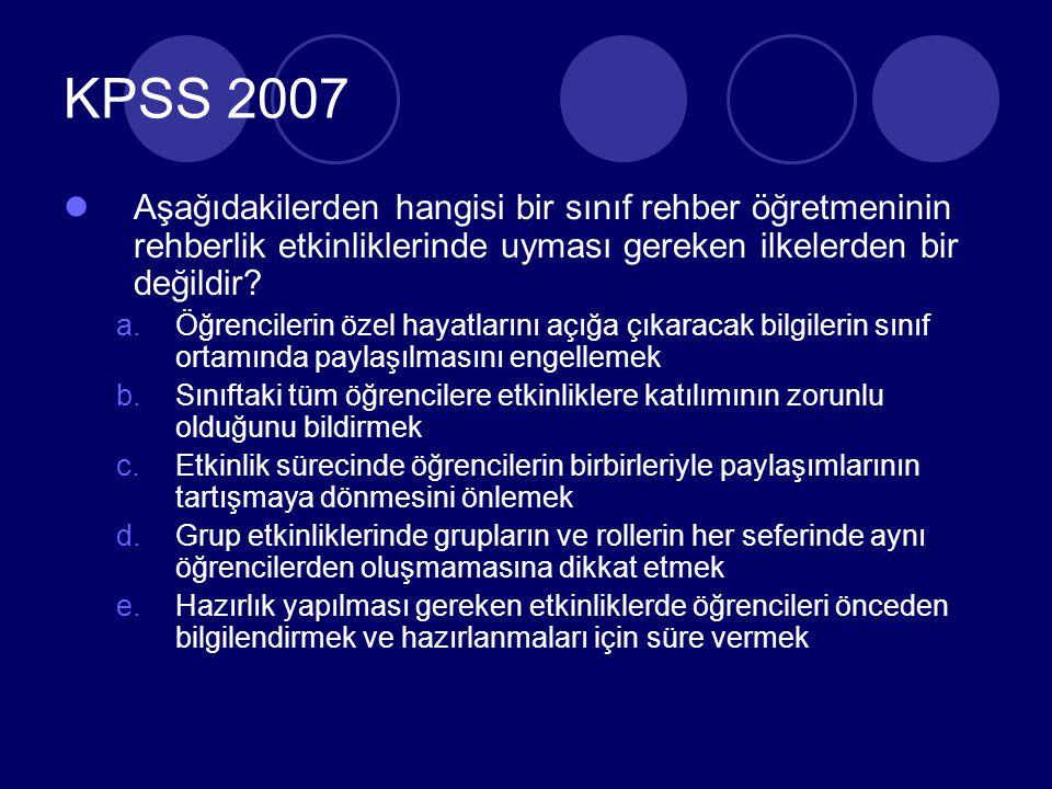 KPSS 2007 Psikolojik danışma yardımı alan kişiye balık vermektense balık tutmayı öğretmek onun daha güçlü olması ve ileride ortaya çıkabilecek sorunları çözmede yeterli hale gelmesi için doğru bir yaklaşımdır.