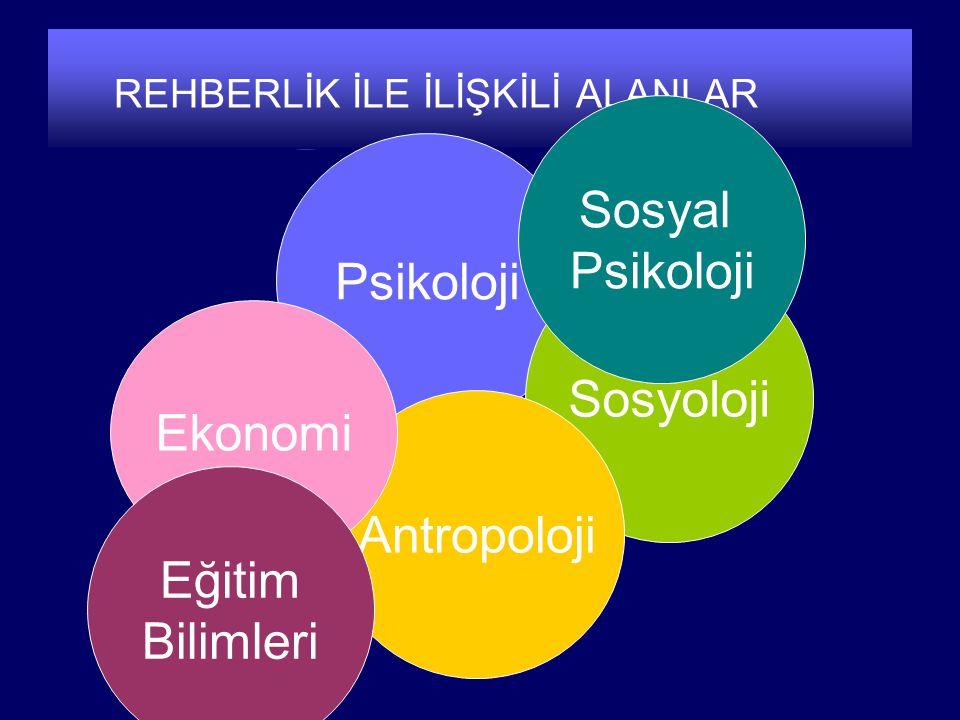 REHBERLİK İLE İLİŞKİLİ ALANLAR Psikoloji Sosyoloji Antropoloji Ekonomi Sosyal Psikoloji Eğitim Bilimleri