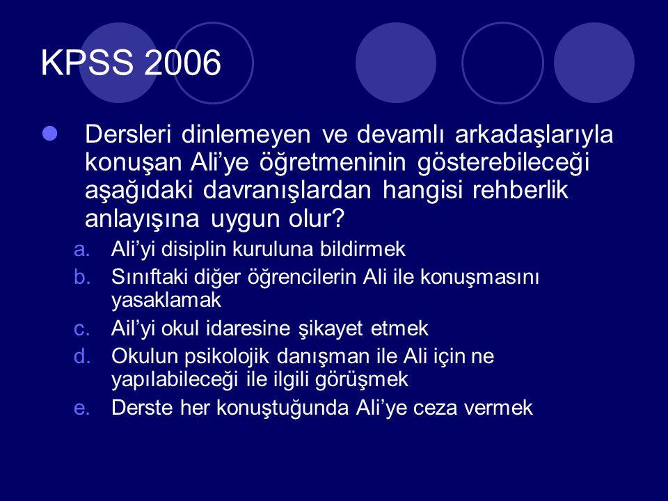 KPSS 2006 Dersleri dinlemeyen ve devamlı arkadaşlarıyla konuşan Ali'ye öğretmeninin gösterebileceği aşağıdaki davranışlardan hangisi rehberlik anlayışına uygun olur.