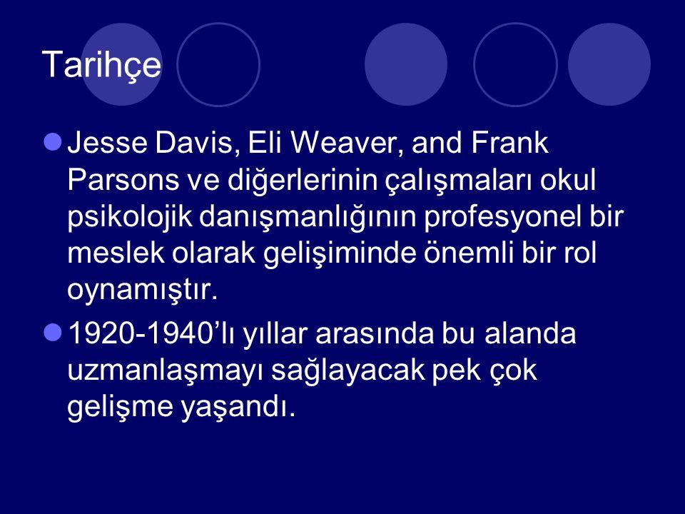 Tarihçe Jesse Davis, Eli Weaver, and Frank Parsons ve diğerlerinin çalışmaları okul psikolojik danışmanlığının profesyonel bir meslek olarak gelişiminde önemli bir rol oynamıştır.