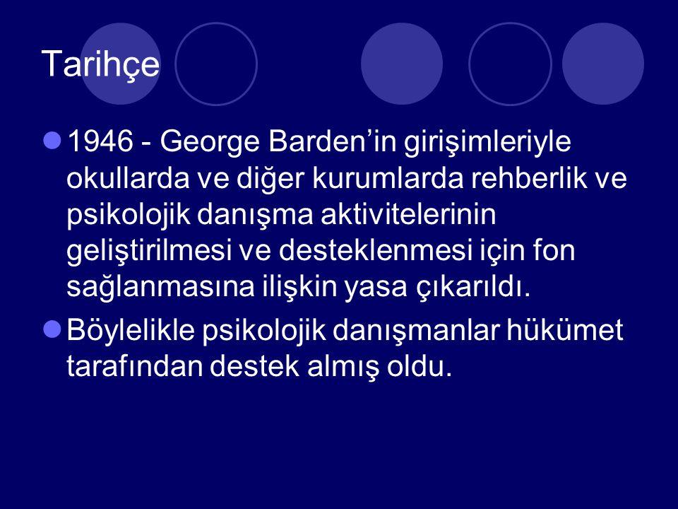 Tarihçe 1946 - George Barden'in girişimleriyle okullarda ve diğer kurumlarda rehberlik ve psikolojik danışma aktivitelerinin geliştirilmesi ve desteklenmesi için fon sağlanmasına ilişkin yasa çıkarıldı.