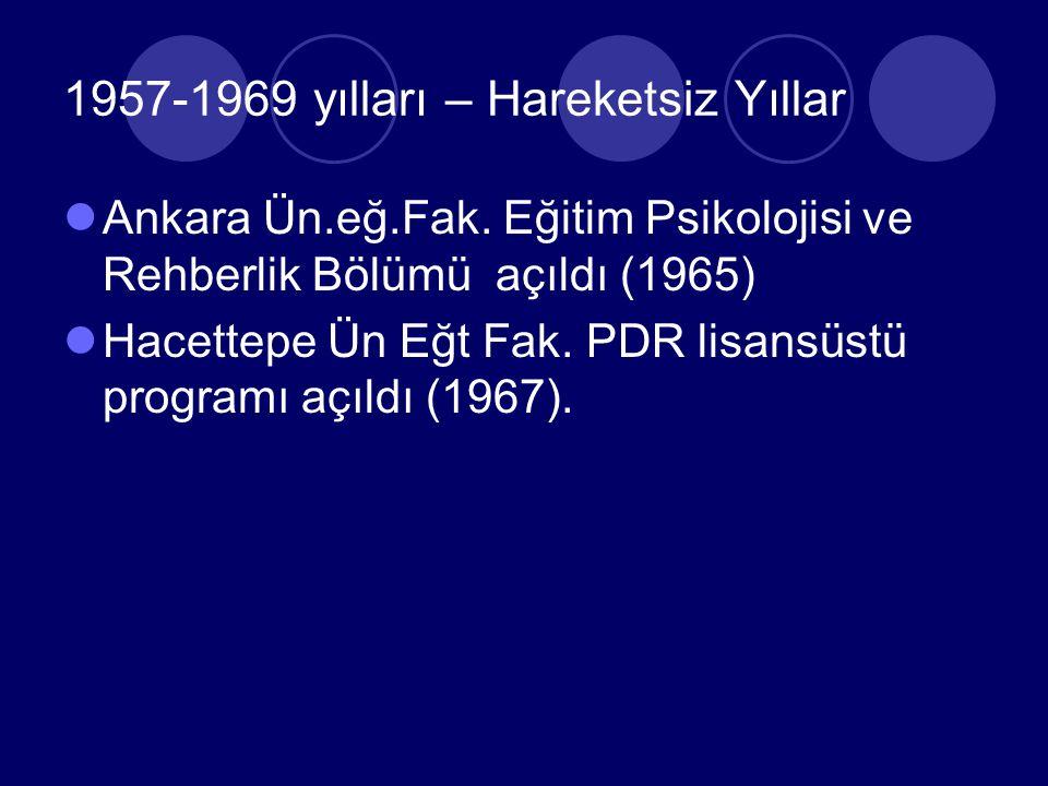 1950-1956 yılları – Başlangıç yılları Talim terbiye dairesinde Test ve Araştırma Bürosu kuruldu (1953) Ankara Demirbahçe ilköğretim okulunda Psikolojik servis Merkezi adında RAM açıldı (1955) Gazi eğitim enstiPedagoji ve Özel eğitim Bölümlerinde Rehberlik ve Rehberlik Teknikleri dersleri okutulmaya başlandı (1953)