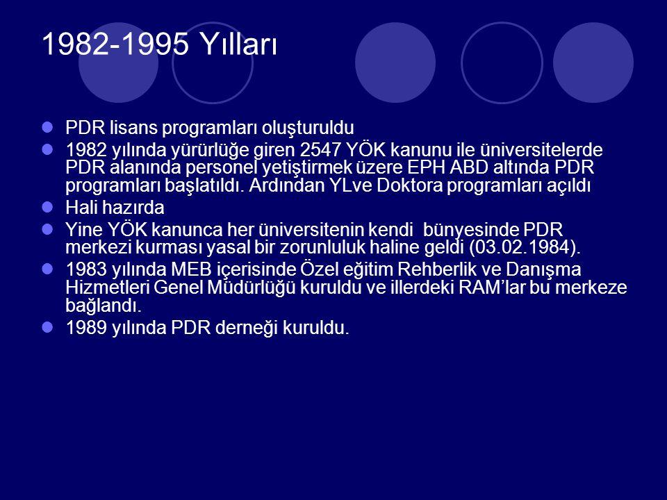 1970-1981 yılları Okullarda PDR servisleri örgütlendi PDR hizmetleri Bakanlık tşkilatı içerisnde yapılanmaya başladı (1970) 1973 yılında çıkarılan1739 sayılı Mille eğitim Temel Kanununda yöneltme kapsamında PDR bir yasa maddesi olarak yer aldı.