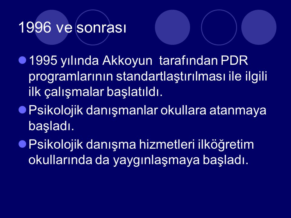 1982-1995 Yılları PDR lisans programları oluşturuldu 1982 yılında yürürlüğe giren 2547 YÖK kanunu ile üniversitelerde PDR alanında personel yetiştirmek üzere EPH ABD altında PDR programları başlatıldı.