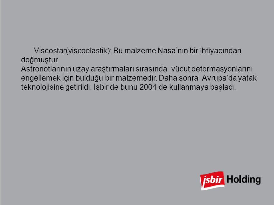 Viscostar(viscoelastik): Bu malzeme Nasa'nın bir ihtiyacından doğmuştur. Astronotlarının uzay araştırmaları sırasında vücut deformasyonlarını engellem