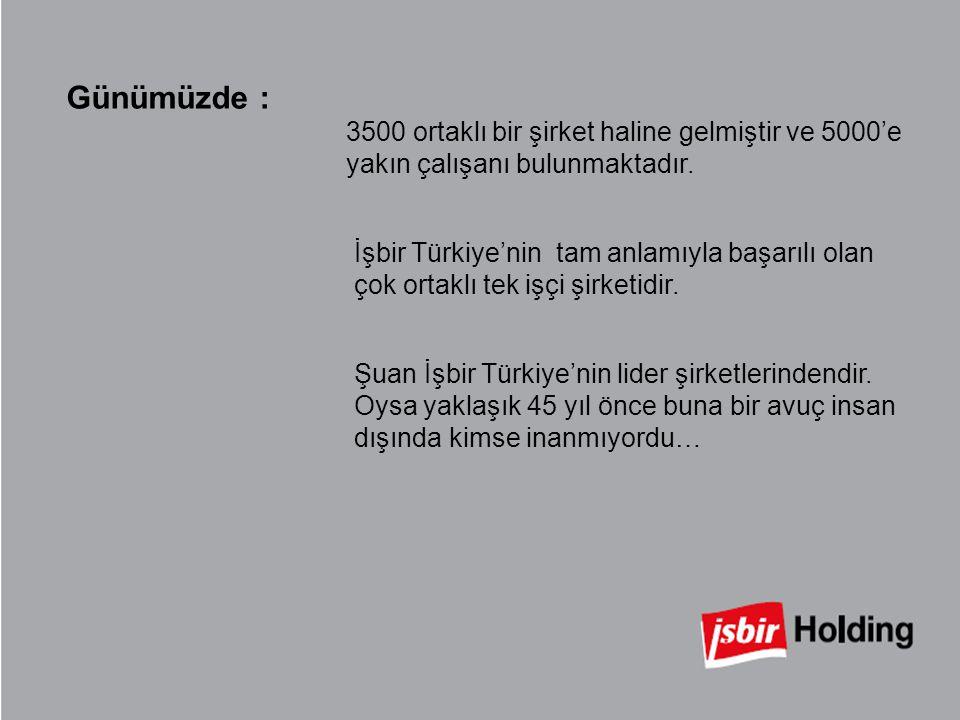 Günümüzde : 3500 ortaklı bir şirket haline gelmiştir ve 5000'e yakın çalışanı bulunmaktadır. İşbir Türkiye'nin tam anlamıyla başarılı olan çok ortaklı