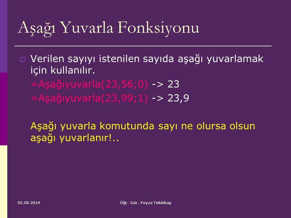 02.09.2014Öğr. Gör. Feyza Tekinbaş Aşağı Yuvarla Fonksiyonu  Verilen sayıyı istenilen sayıda aşağı yuvarlamak için kullanılır. =Aşağıyuvarla(23,56;0)