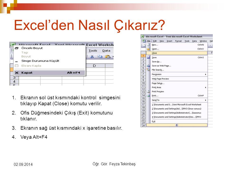 Öğr. Gör. Feyza Tekinbaş 02.09.2014 Excel'den Nasıl Çıkarız? 1.Ekranın sol üst kısmındaki kontrol simgesini tıklayıp Kapat (Close) komutu verilir. 2.O