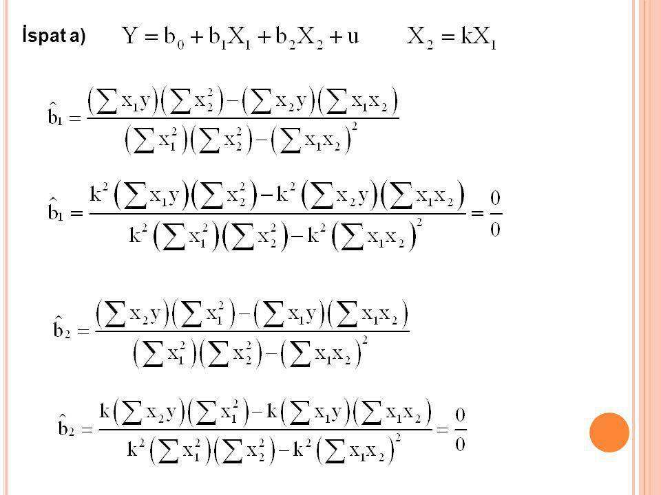 1.Ön Bilgi Yöntemi Y = b 1 + b 2 X 2 + b 3 X 3 +b 4 X 4 + ub 3 = 0.2b 2 Y = b 1 + b 2 X 2 + 0.2b 2 X 3 +b 4 X 4 + u Y = b 1 + b 2 (X 2 + 0.2 X 3 )+b 4 X 4 + u Y = b 1 + b 2 X*+ b 4 X 4 + u Yukarıdaki hesaplama bağımsız değişkenler arasında çoklu doğrusal bağlantıdan etkilenmemektedir.