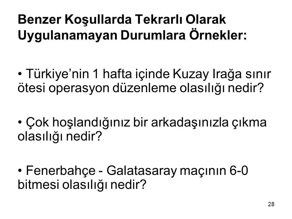 28 Benzer Koşullarda Tekrarlı Olarak Uygulanamayan Durumlara Örnekler: Türkiye'nin 1 hafta içinde Kuzay Irağa sınır ötesi operasyon düzenleme olasılığ