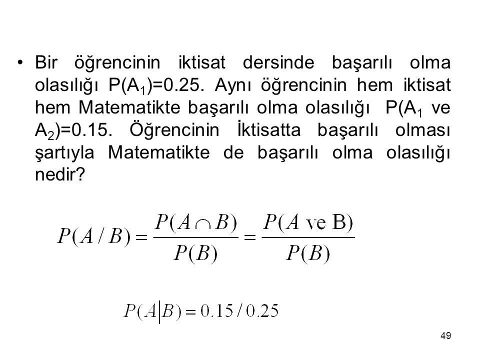 49 Bir öğrencinin iktisat dersinde başarılı olma olasılığı P(A 1 )=0.25. Aynı öğrencinin hem iktisat hem Matematikte başarılı olma olasılığı P(A 1 ve