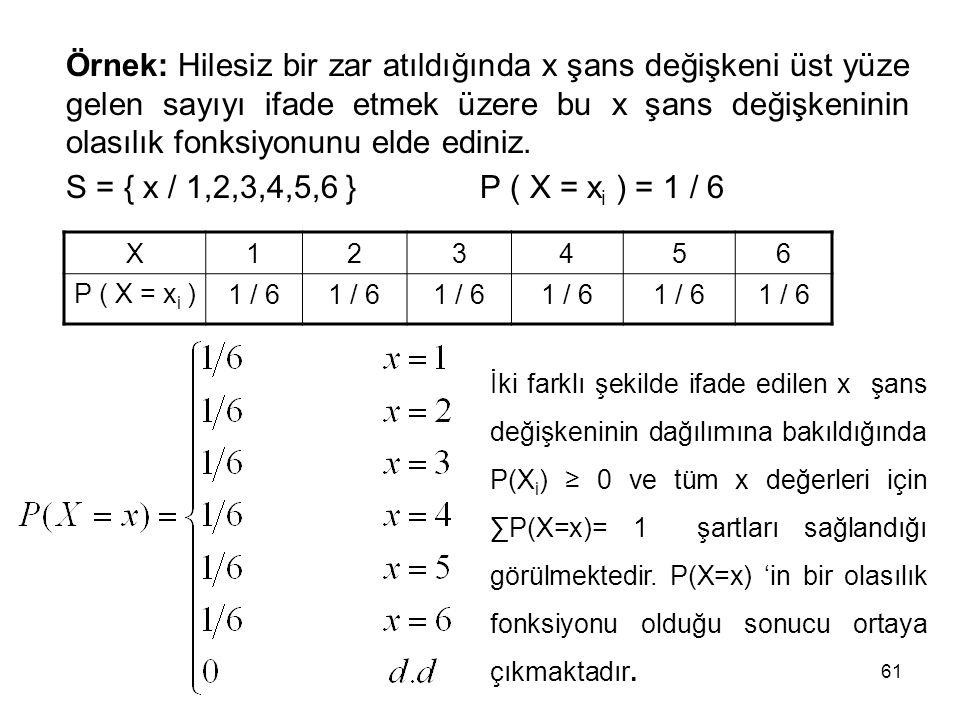 61 Örnek: Hilesiz bir zar atıldığında x şans değişkeni üst yüze gelen sayıyı ifade etmek üzere bu x şans değişkeninin olasılık fonksiyonunu elde edini