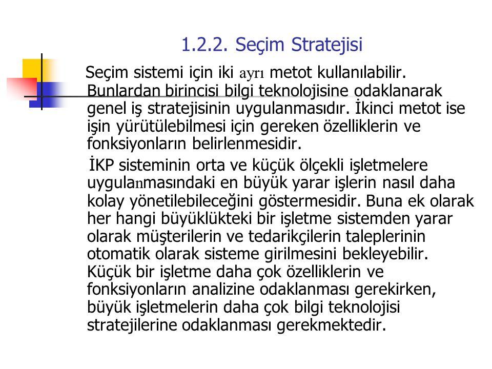 1.2.2.Seçim Stratejisi Seçim sistemi için iki ayrı metot kullanılabilir.