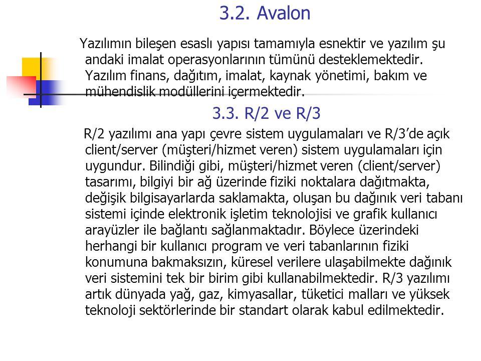 3.2. Avalon Yazılımın bileşen esaslı yapısı tamamıyla esnektir ve yazılım şu andaki imalat operasyonlarının tümünü desteklemektedir. Yazılım finans, d