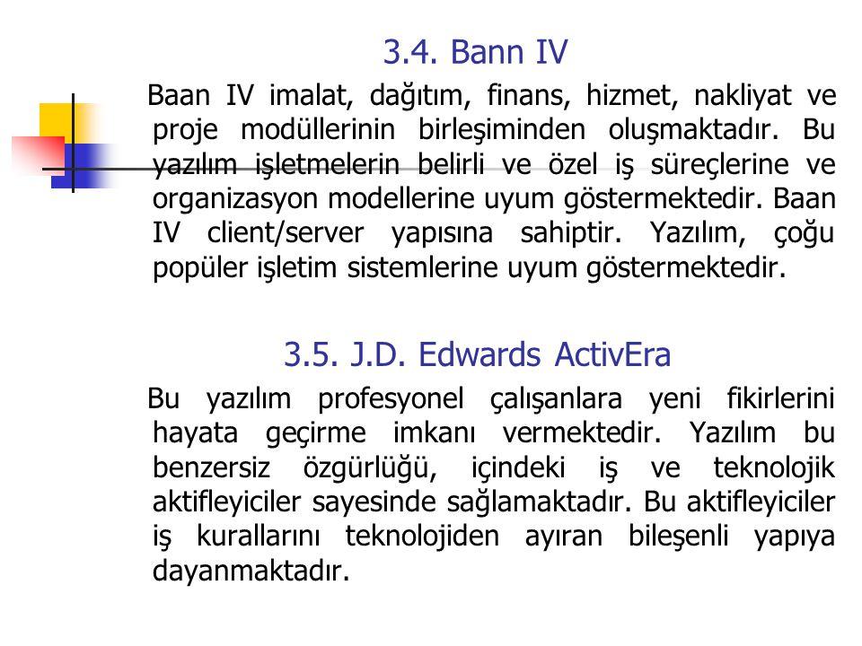 3.4. Bann IV Baan IV imalat, dağıtım, finans, hizmet, nakliyat ve proje modüllerinin birleşiminden oluşmaktadır. Bu yazılım işletmelerin belirli ve öz