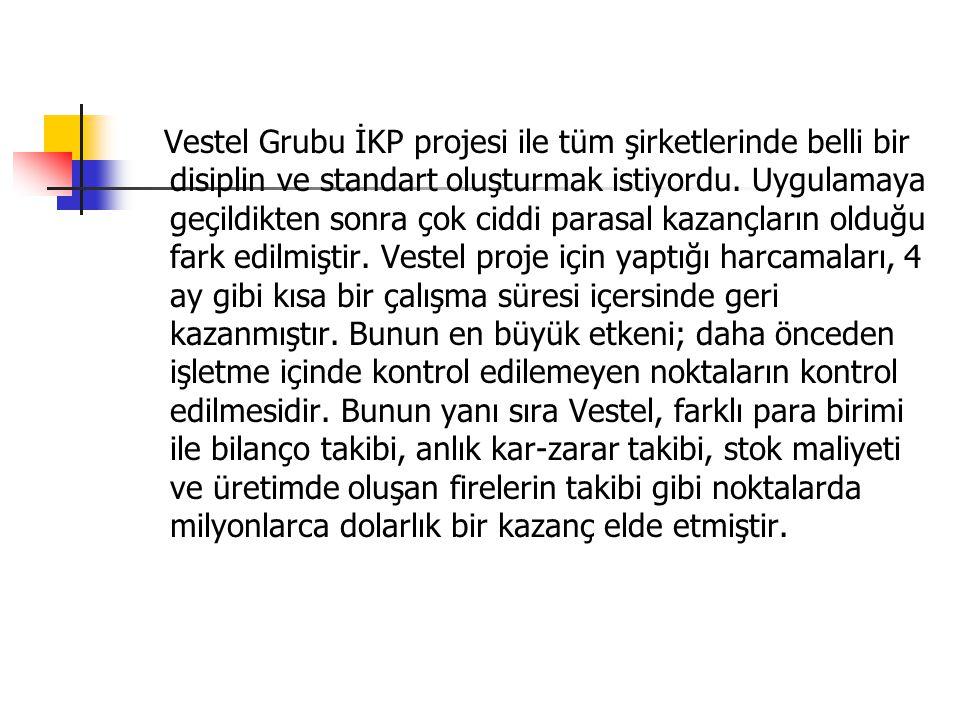 Vestel Grubu İKP projesi ile tüm şirketlerinde belli bir disiplin ve standart oluşturmak istiyordu.