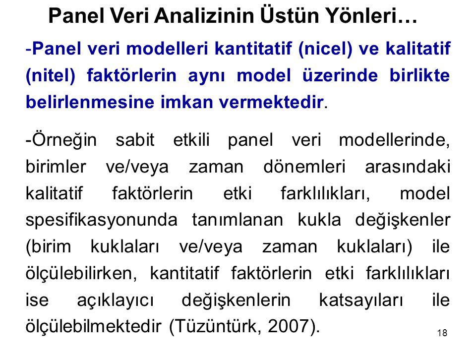18 Panel Veri Analizinin Üstün Yönleri… -Panel veri modelleri kantitatif (nicel) ve kalitatif (nitel) faktörlerin aynı model üzerinde birlikte belirle