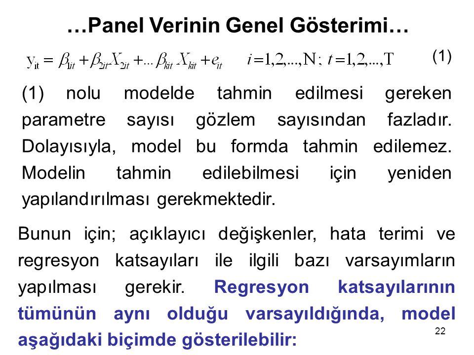 22 …Panel Verinin Genel Gösterimi… (1) nolu modelde tahmin edilmesi gereken parametre sayısı gözlem sayısından fazladır. Dolayısıyla, model bu formda